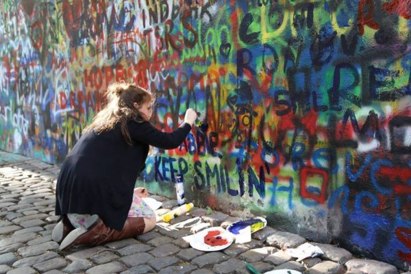 Catherine Leonard @ John Lennon Wall, Prague, Czech Republic